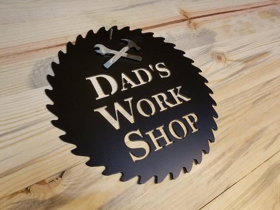 Dads workshop saw blade metal wall art