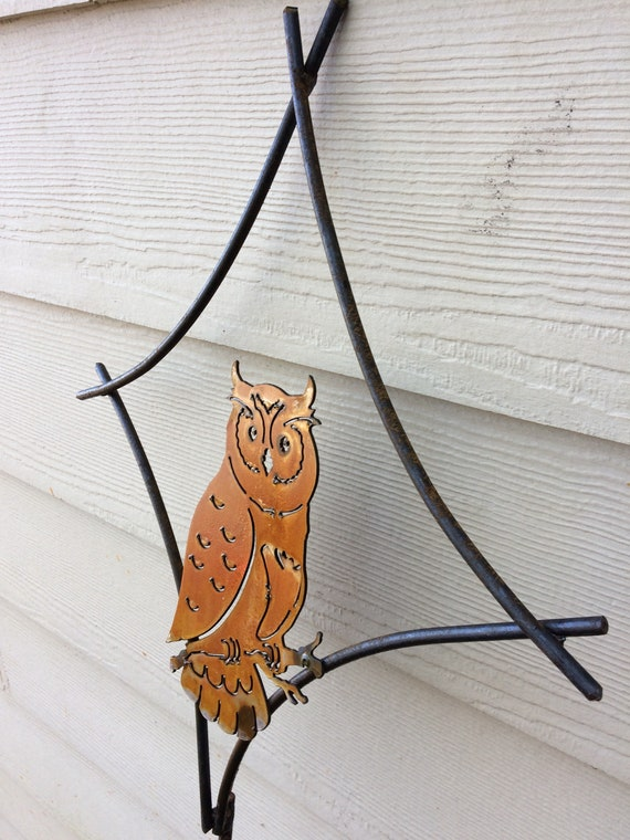 Owl Garden Stake Outdoor Metal Art Owl Sculpture Owl | Etsy