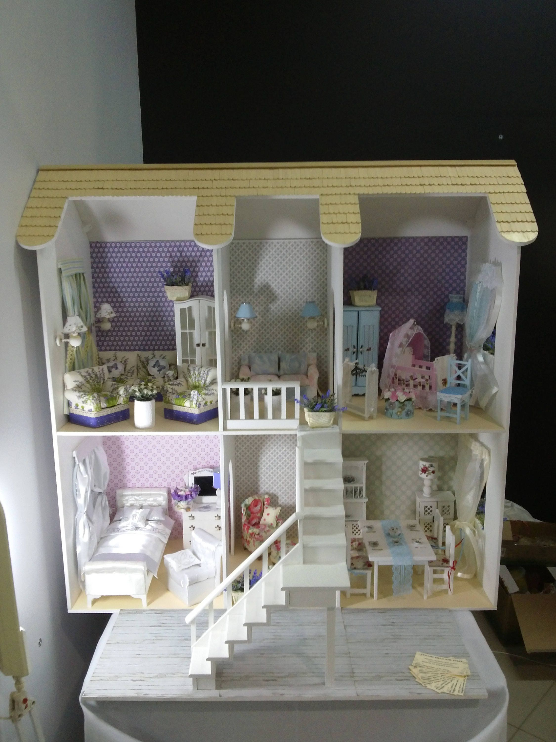 Wooden Dollhouse Barbie Doll House Dollhouse Furniture Living Etsy