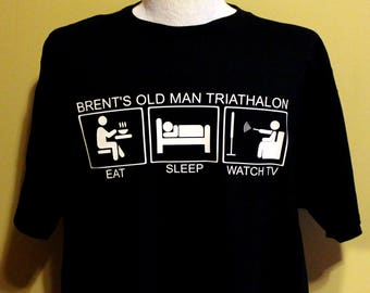 Old Man Triathlon T Shirt Gift For Dad Grandpa Gag Retirement Funny Birthday