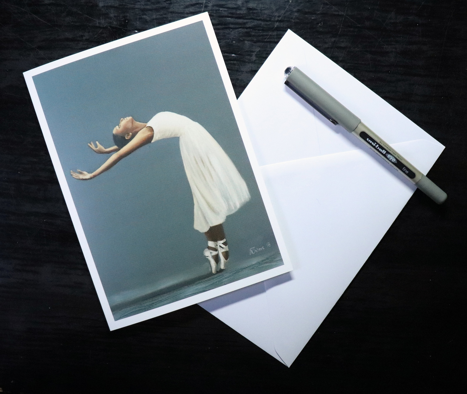 blank greeting card of young ballerina, ballet dancer on pointe, ballet artwork print // birthday cards, art prints, greetings b