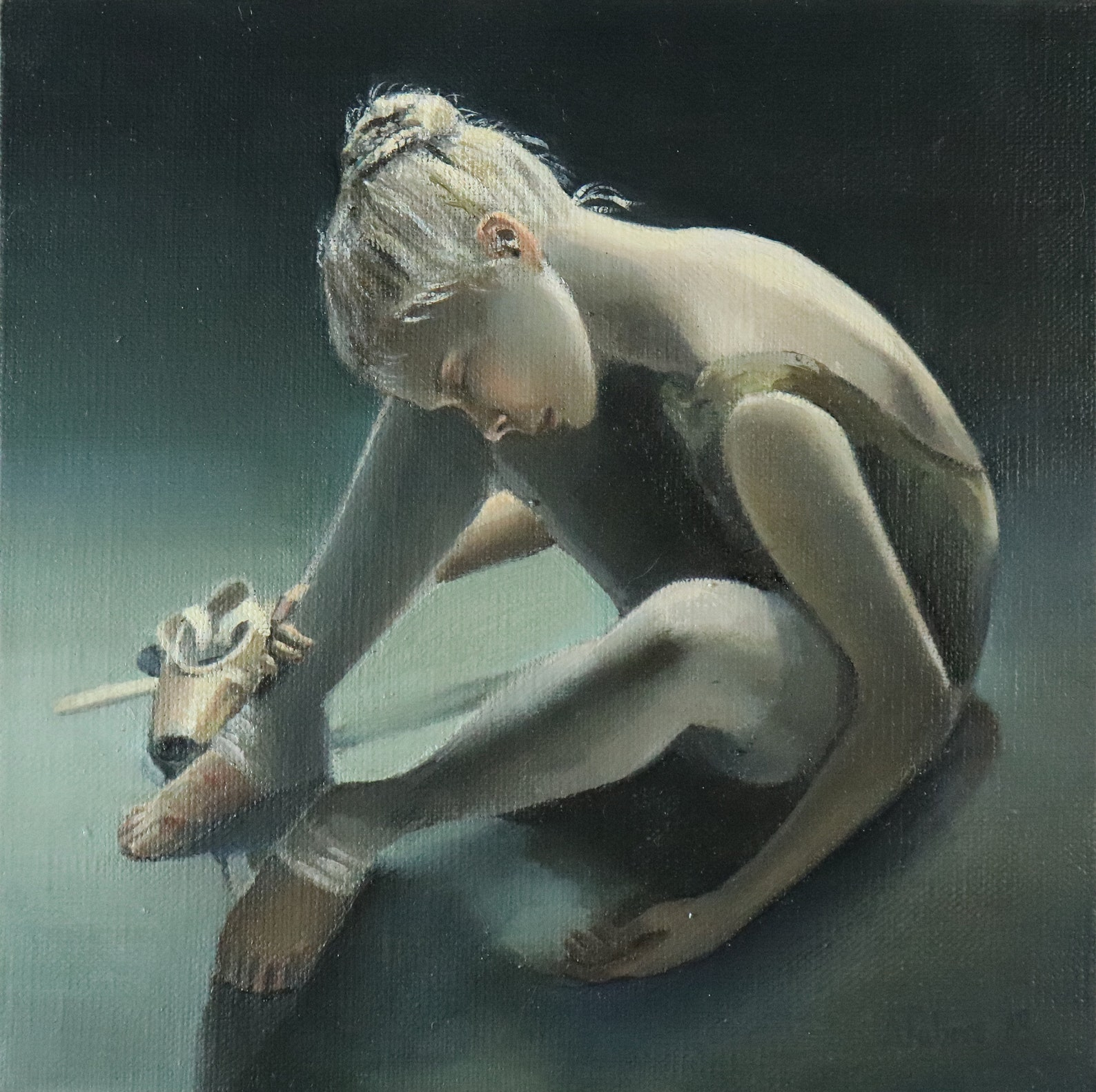 days end, exhausted ballerina, young dancer painting. ballet artwork, not print, original art by alex jabore