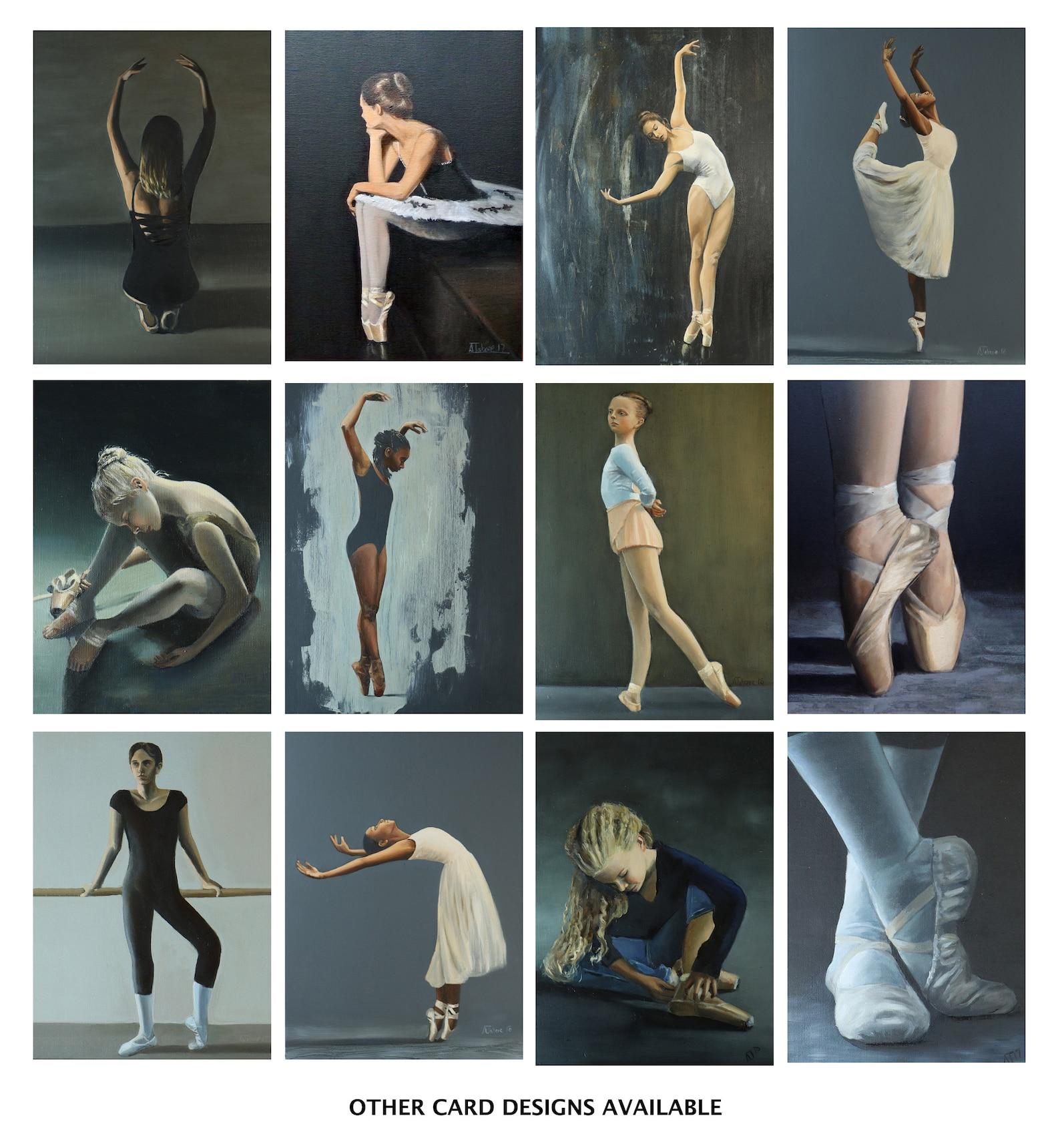 blank greeting card of young ballerina, ballet dancer on pointe, ballet artwork print // birthday cards, art prints, greetings b