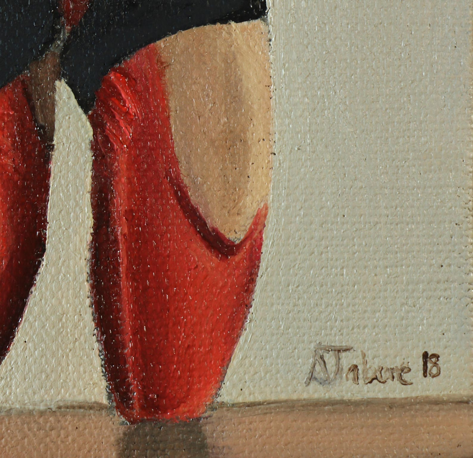 red ballet shoes painting, miniature, wall art, ballet original not print, by uk artist alex jabore