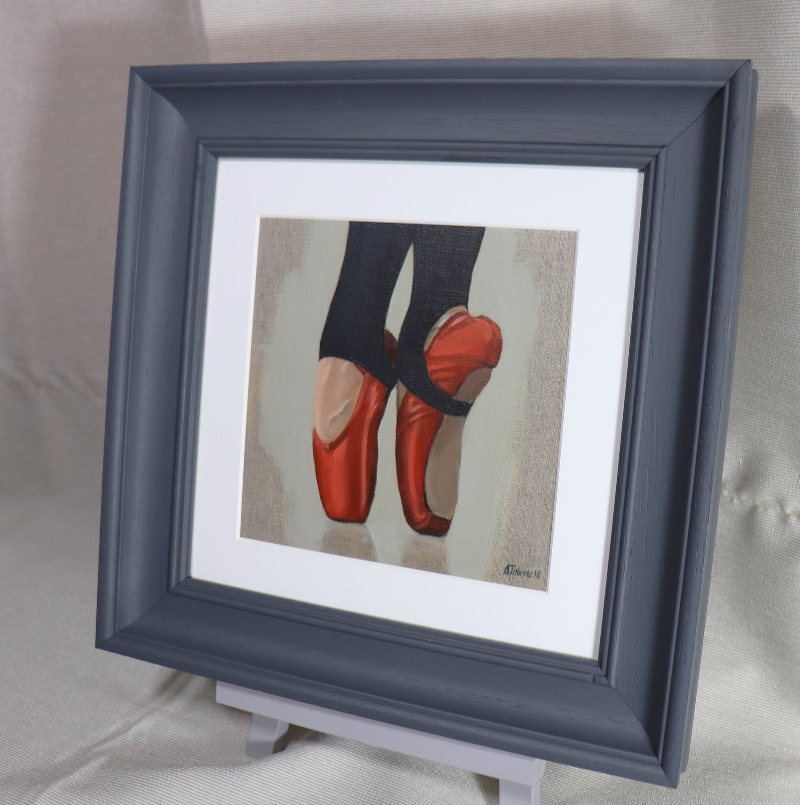 red ballet shoes, ballet painting, ballerina, dance, framed and ready to hang, wall decor, ballet shoes by gb artist alex jabore