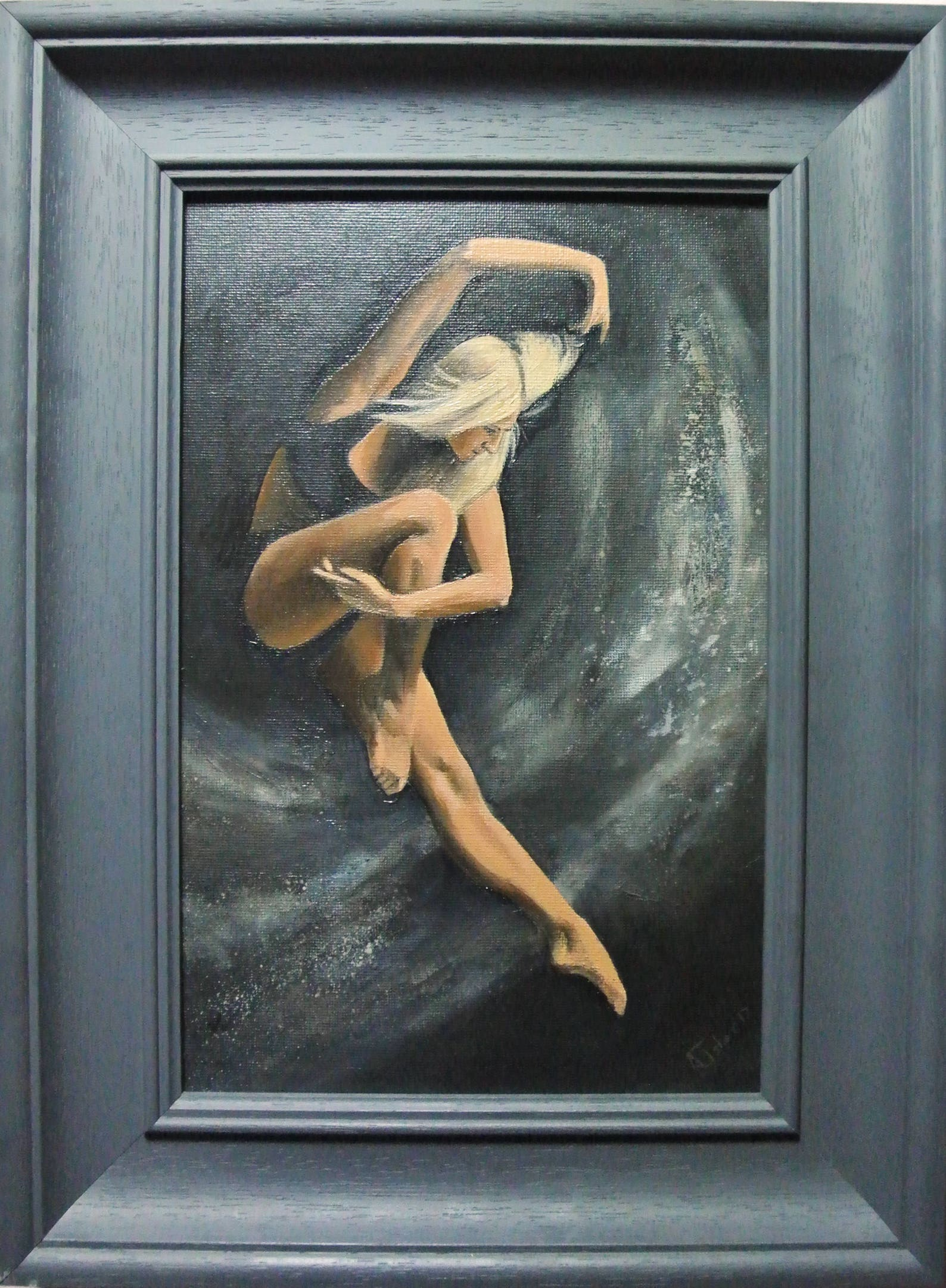 ballet study, ballerina, dance, framed and ready to hang (2016) oil original by uk artist