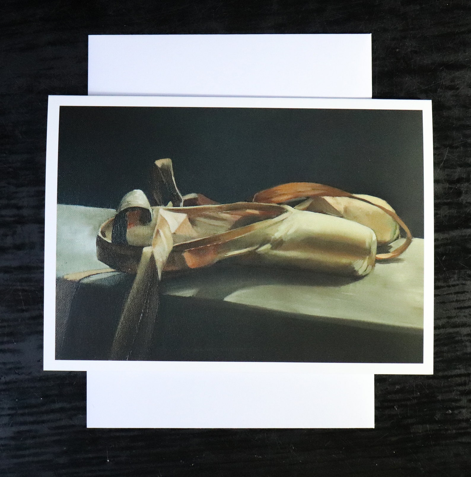 ballet shoes still life, blank greeting card, artwork print /birthday cards, ballet painting, tutu shoes art prints by uk artist