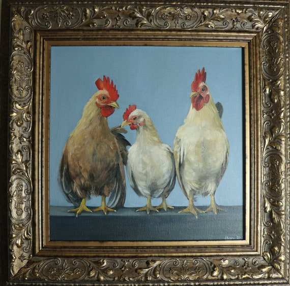 Chickens In A Row Animal Painting Bird Artwork Framed Art Etsy