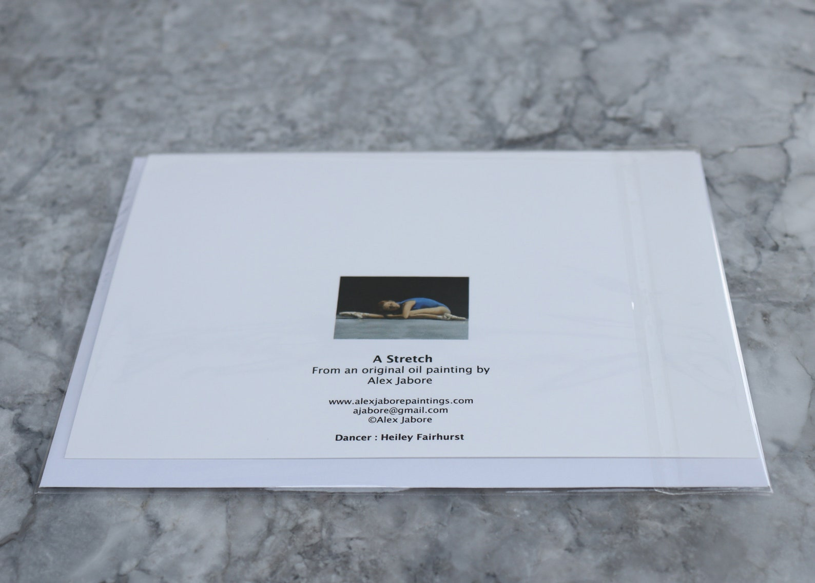 the stretch, ballet dancer, artwork print / birthday cards, christmas art prints based on original artwork uk artist alex jabore
