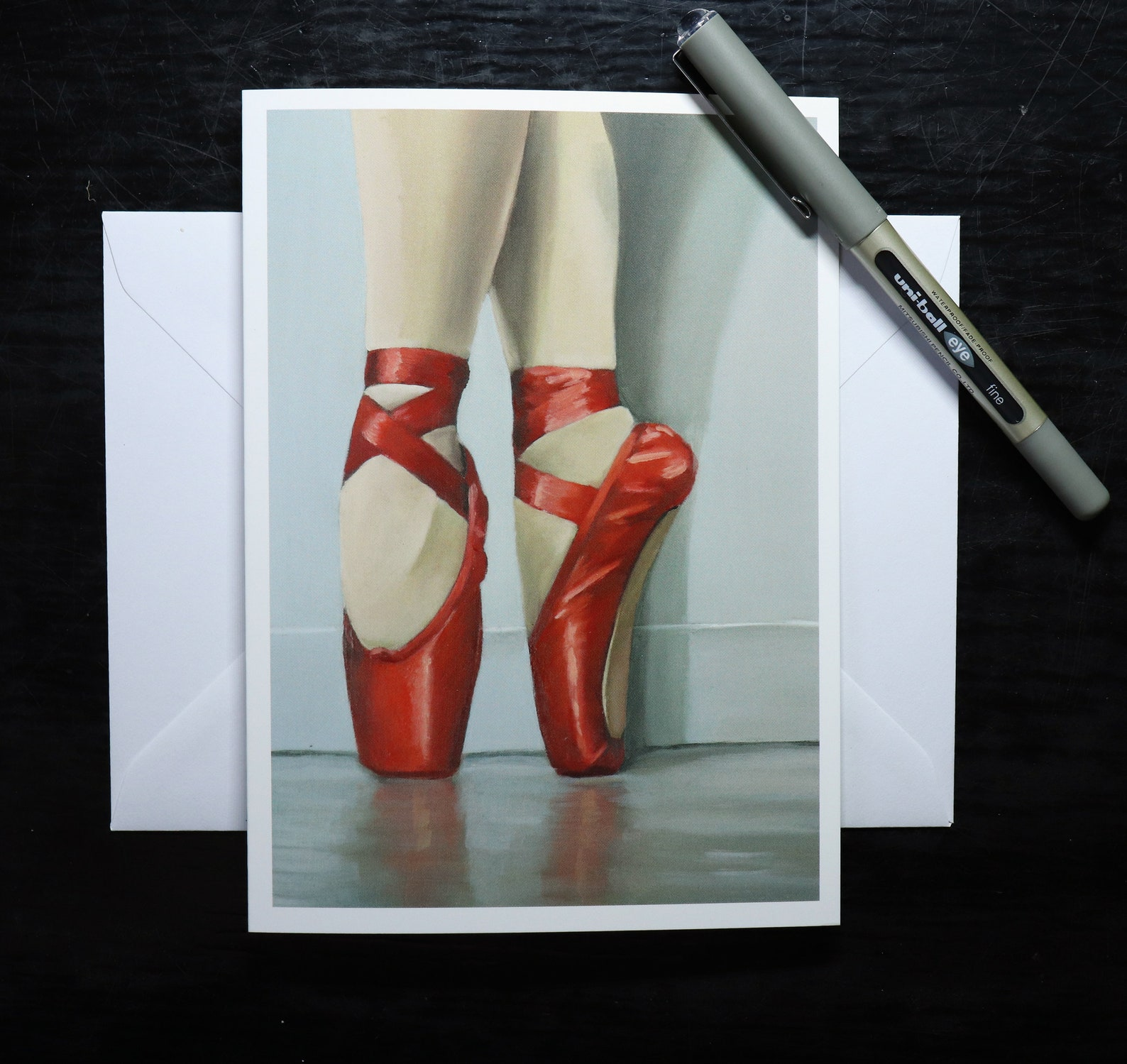 red ballet shoes blank greeting card dancer on pointe, ballerina artwork print / birthday cards, art prints, greetings by uk art