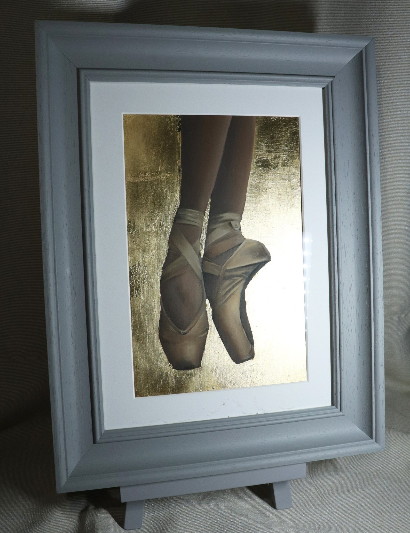 ballerina on pointe, 24k gold leaf, ballet shoes painting, framed artwork, art