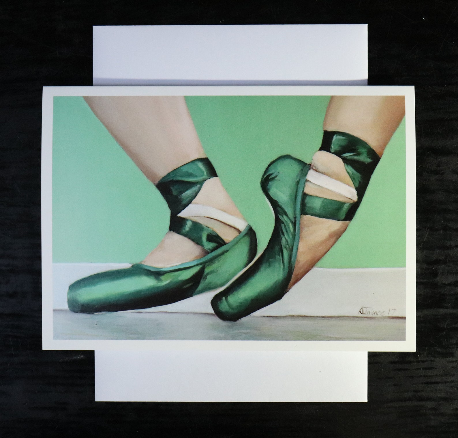 green ballet shoes, blank greeting card, artwork print /birthday cards, ballet painting, shoes art prints by uk artist jabore