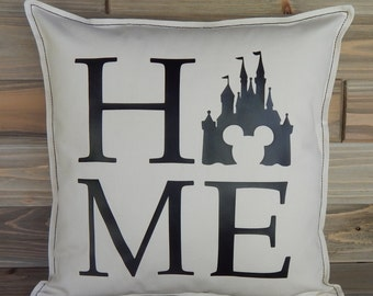 Disney Inspired Pillow Cover 16x16, Disney Home Decor, Disney World, Disney Pillow Cover, Disney Gift, Cinderella's Castle, Throw Pillow