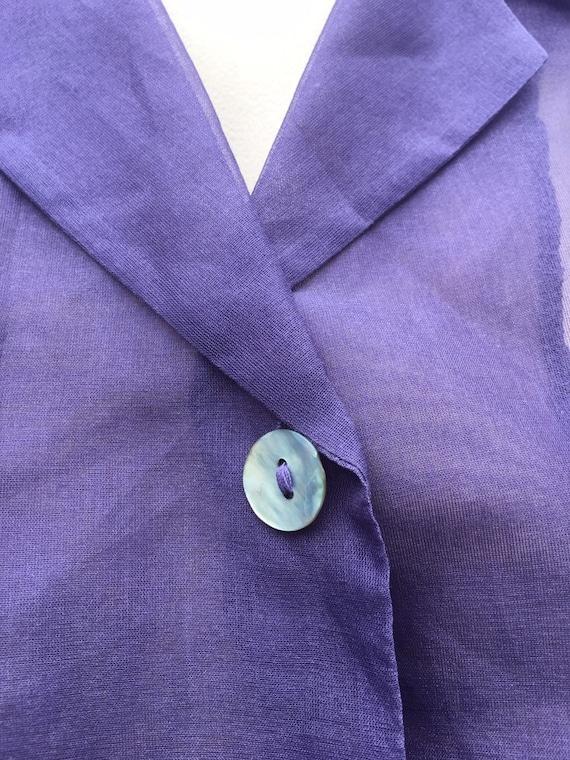 Lilac Vintage 1980's  silk Organza XL sheer embro… - image 2