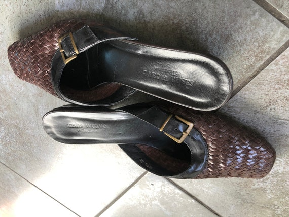 Stunning 1990S BRown/BLack 39 LEather WOven MUles… - image 10