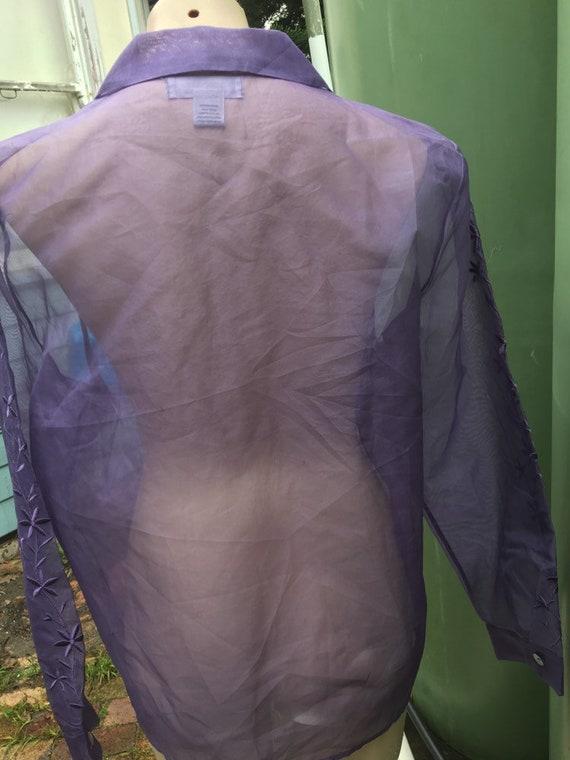 Lilac Vintage 1980's  silk Organza XL sheer embro… - image 8