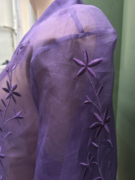 Lilac Vintage 1980's  silk Organza XL sheer embro… - image 3