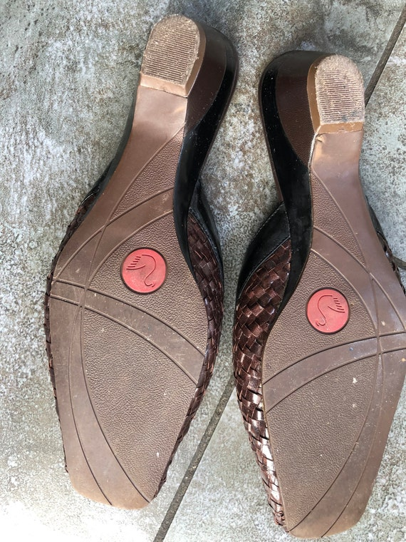 Stunning 1990S BRown/BLack 39 LEather WOven MUles… - image 8