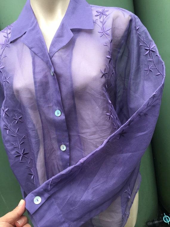 Lilac Vintage 1980's  silk Organza XL sheer embro… - image 1