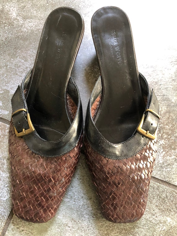 Stunning 1990S BRown/BLack 39 LEather WOven MUles… - image 2