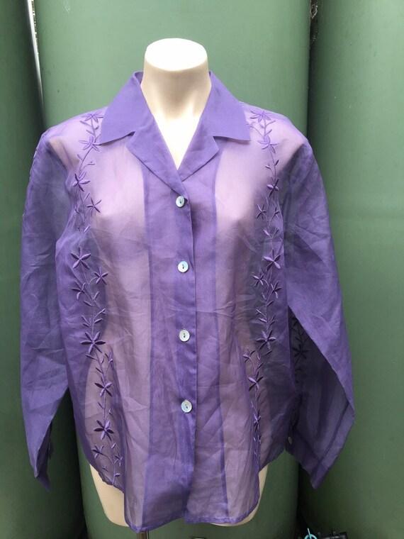 Lilac Vintage 1980's  silk Organza XL sheer embro… - image 4