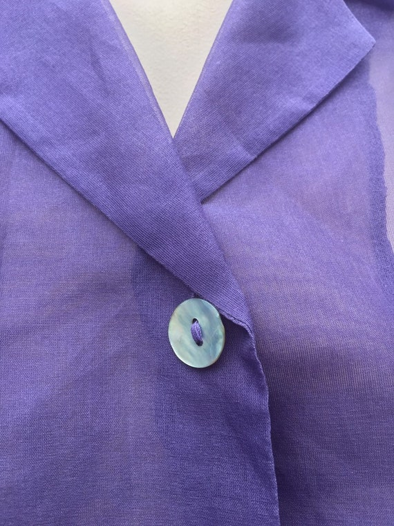 Lilac Vintage 1980's  silk Organza XL sheer embro… - image 9