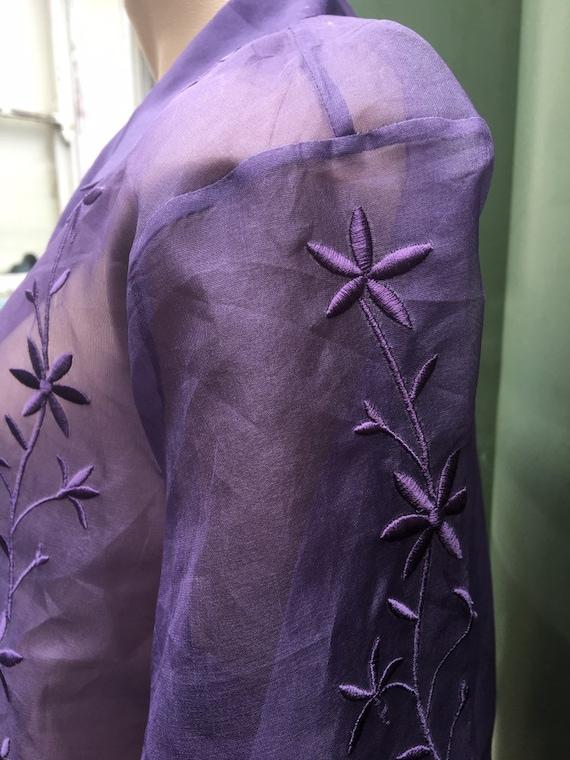 Lilac Vintage 1980's  silk Organza XL sheer embro… - image 7