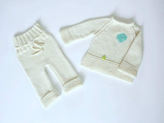 Hand Knit Newborn Sets Knit Baby Sweater Knit Baby Trousers Etsy