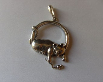 Cat and mouse Pendant Hand made
