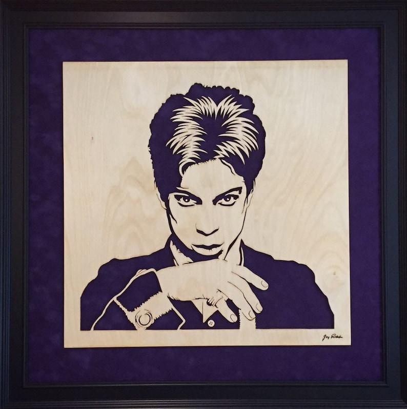 Prince Musical Genius portrait Wood cut art image 0