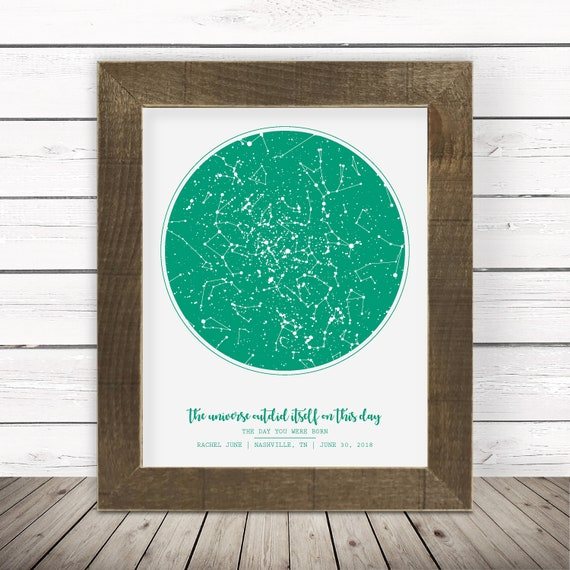 Sky Map Framed Sky Map of Date 30th Birthday Gifts for Her New Mom Gift New  Baby Keepsake New Baby Gift New Baby Boy New Baby Girl Sister