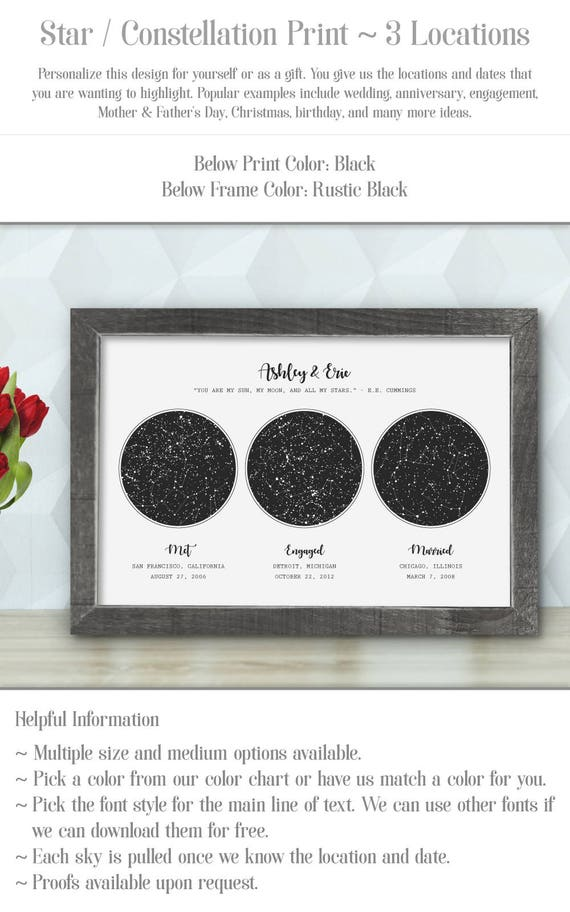 Location Star Map Constellation Chart Night Sky Etsy - Star map from my location