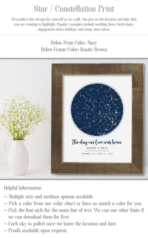 Celestial Star Chart Personalized 1 Year Anniversary Gift For Etsy