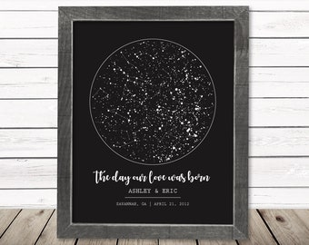 Night Sky Print Star Custom Map Personalize First Anniversary Gift Him Her Frame Canvas Custom Unique 2nd Cotton Wedding Constellation Chart