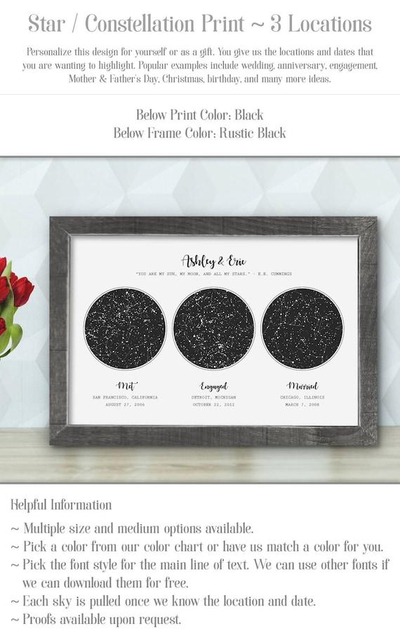 Custom Framed Constellation Map Night Sky Print First Etsy