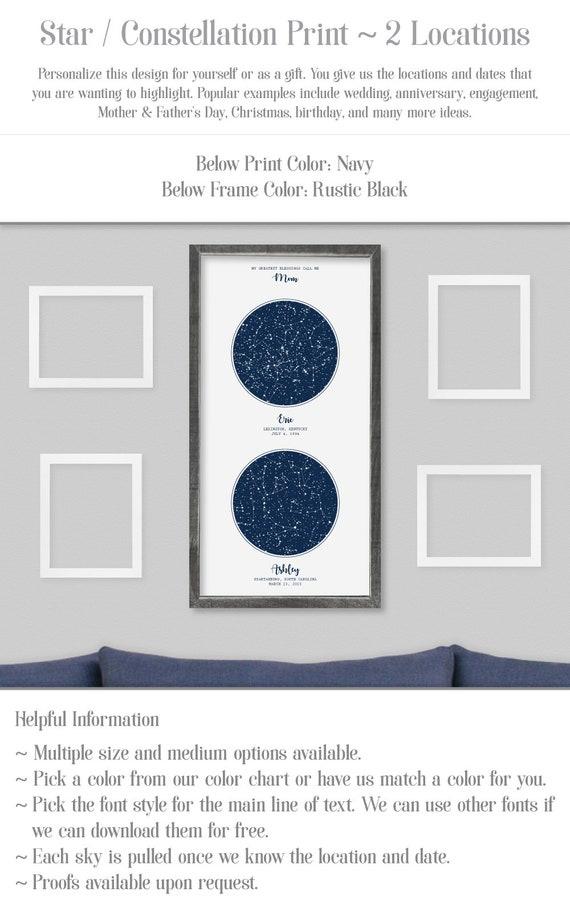 2 Location Star Map Constellation Chart Night Sky Etsy