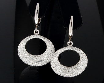 CZ Cubic Zirconia Pave and White 925 Silver Creole Pave Earrings Sterling Silver and pave Dangle and Drop Earrings Leverback