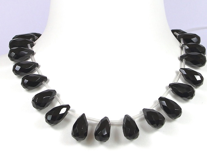 Handmade Jewelry Teardrop Top Drilled Big 20x11mm Briolette Faceted Drops Beads 5 beads Agate AAA Quality Black Onyx Crystal