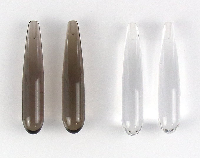 1 Pair Smooth Drops Natural Smoky Quartz or Clear Crystal Quartz Pear shape Half drill 40x8mm Focal Gem for Pendant or Earring
