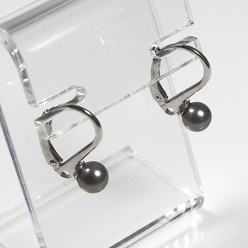Grey Pearl Dangle /& Drop Earrings 6mm Shell Pearl Earrings Sterling Silver 925 Earrings