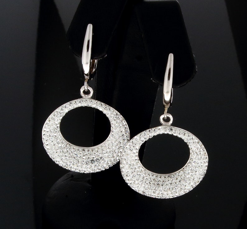 Creole Pave Earrings Leverback CZ Sterling Silver and pave Dangle and Drop Earrings Cubic Zirconia Pave and White 925 Silver