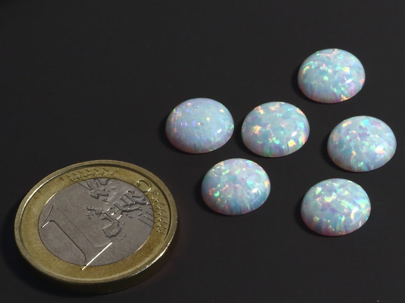 White Color Very Beautiful Made in Japan 10 mm Opal Sparkling Cabochon Round Cabochon 10mm White Synthetic Opal Cabochon Lab Created
