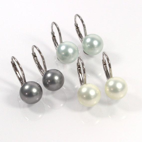 7-8 mm véritable AAA perle blanche boucle d/'oreille Clous En 925 sterlling silver