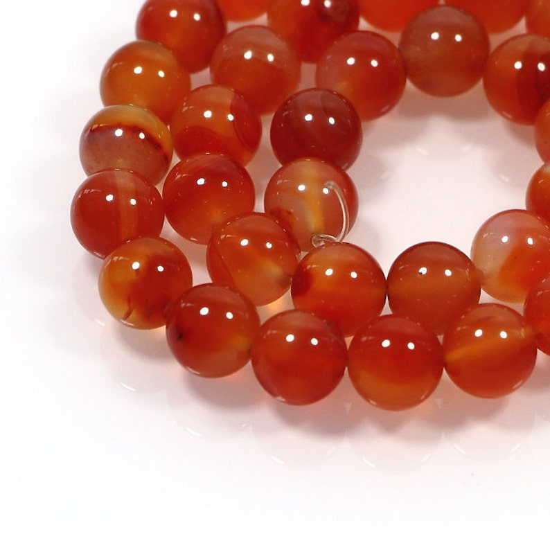 Carnelian Round Beads 8mm Orange//White 40 Pcs Gemstones Jewellery Making Crafts