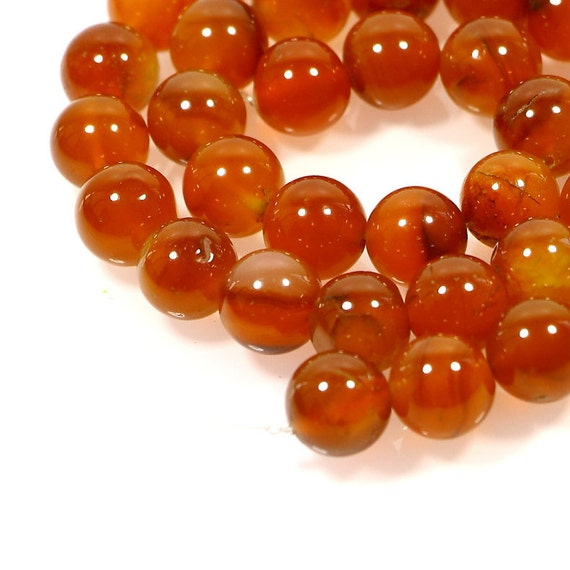 Lot of 25 Vintage Carnelian Agate Natural Polished Stone 12mm Oval Orange Beads