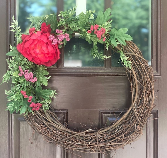 Spring Wreath For Front Door Floral Wreath For Spring And Etsy