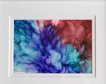 Alcohol ink aqua, purple, and cranberry abstract floral