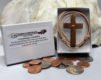 Walnut Wooden Cross Necklace,Christian Gift Ideas,Christian Gift,Wooden Cross Necklace,Gift for Christian Women,Gift for Christian Men