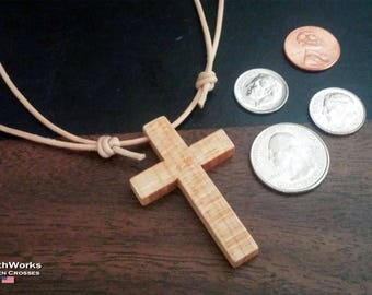 Maple Wood Cross & Adjustable Leather Necklace for Christian Women and Men. Religious Gift: Born Again, Birthday, Baptism Gifts.