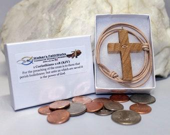 Wood Cross Necklace,Born Again Christian,Small Wooden Cross,Wooden Cross,Small Wood Cross,Christian Gift for Women,Christian Gift for Men